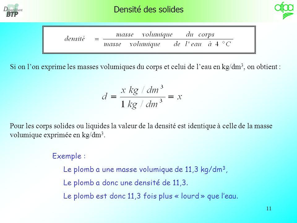 Densité des solides Si on l'on exprime les masses volumiques du corps et celui de l'eau en kg/dm3, on obtient :