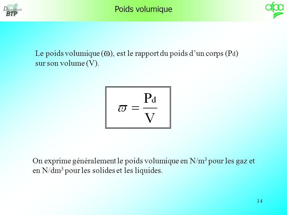 Poids volumique Le poids volumique (ω), est le rapport du poids d'un corps (Pd) sur son volume (V).