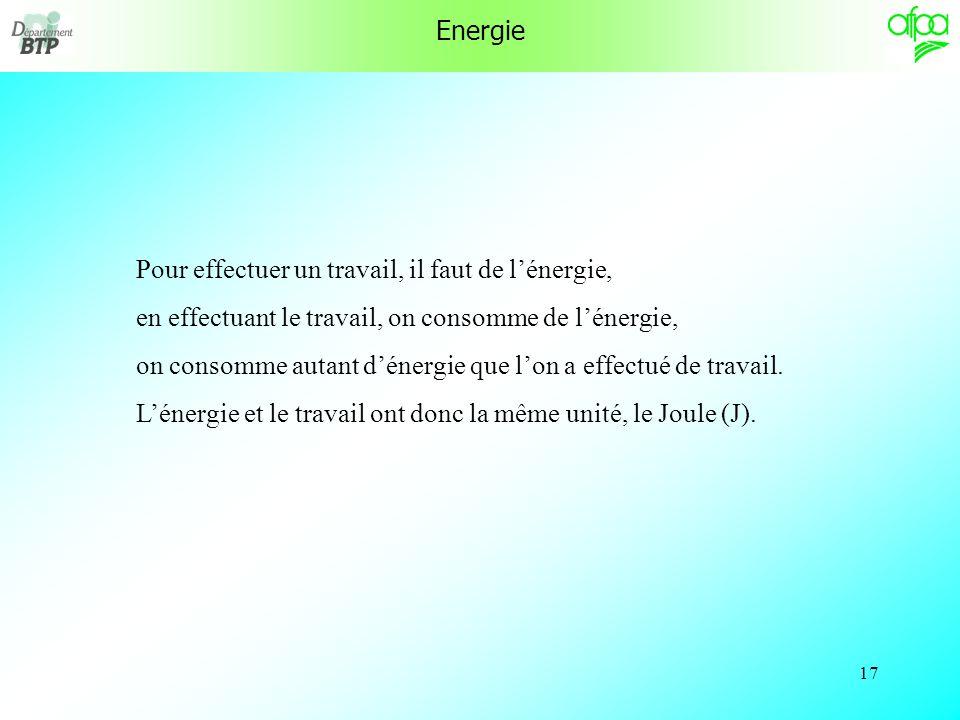 Energie Pour effectuer un travail, il faut de l'énergie, en effectuant le travail, on consomme de l'énergie,