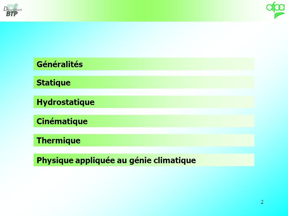 Généralités Statique Hydrostatique Cinématique Thermique Physique appliquée au génie climatique