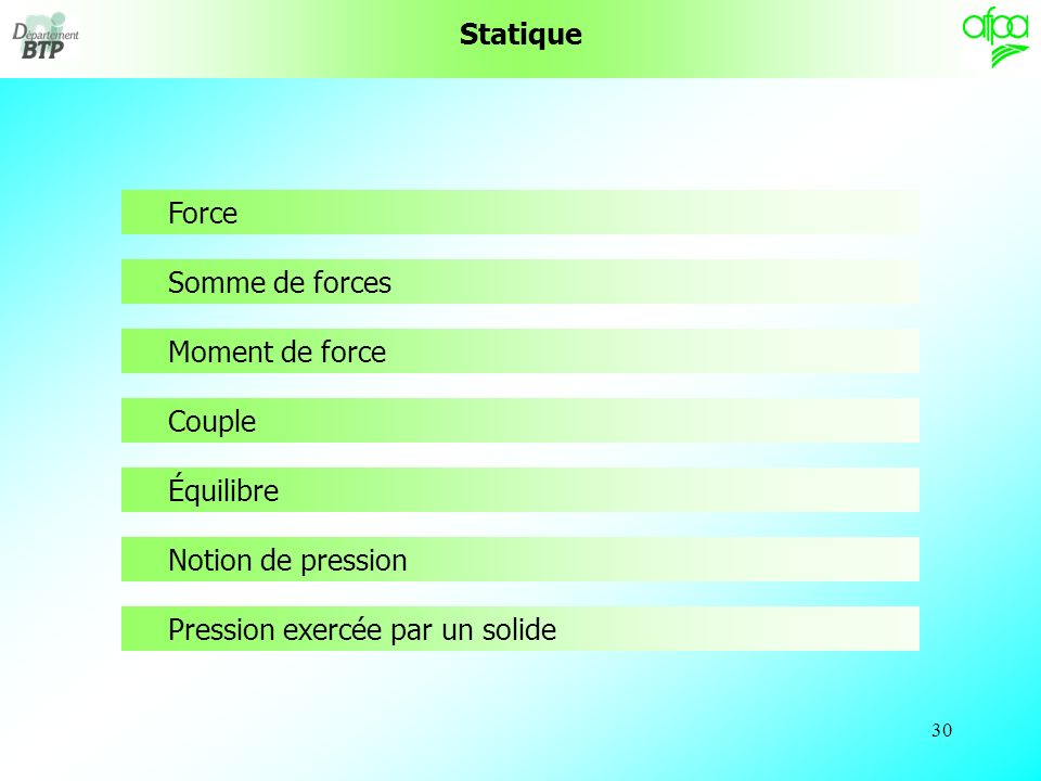 Statique Force. Somme de forces. Moment de force.