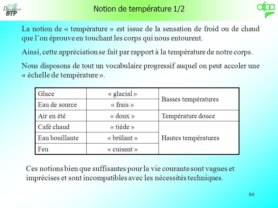 Notion de température 1/2