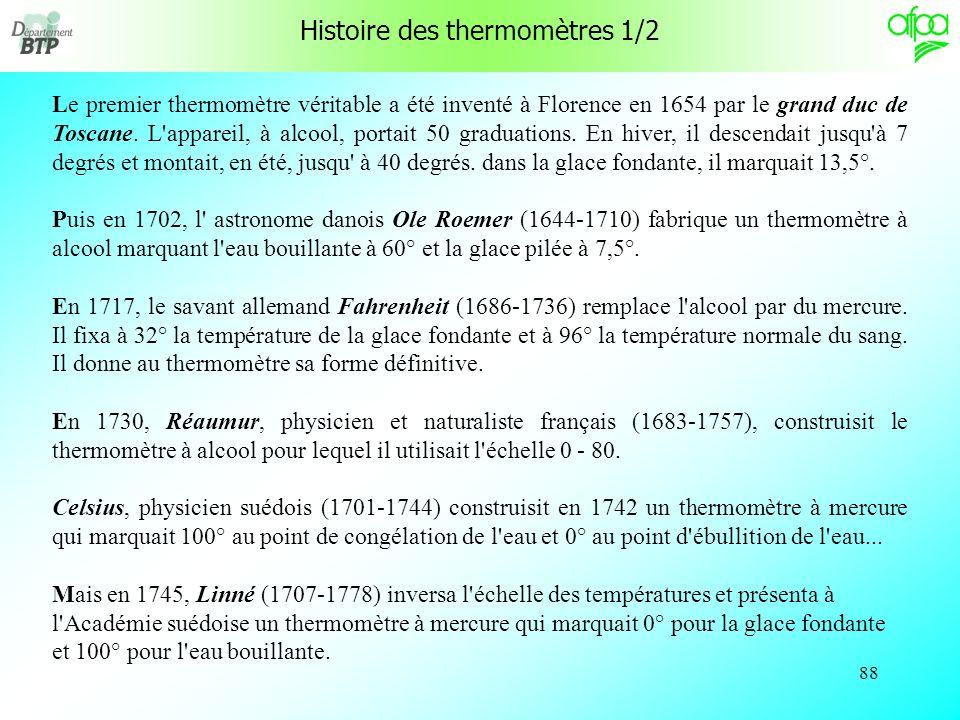 Histoire des thermomètres 1/2