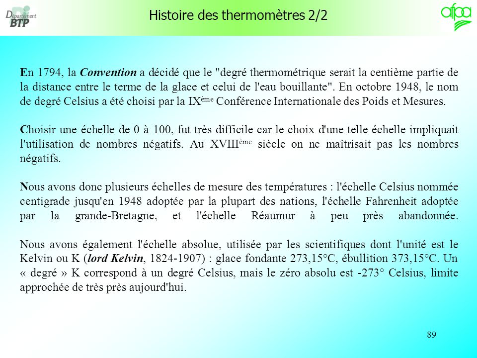 Histoire des thermomètres 2/2