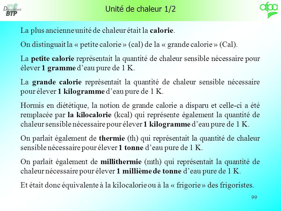 Unité de chaleur 1/2 La plus ancienne unité de chaleur était la calorie. On distinguait la « petite calorie » (cal) de la « grande calorie » (Cal).