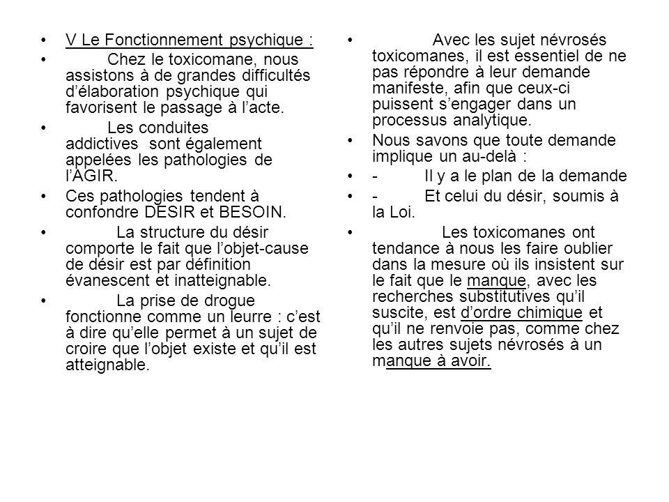 V Le Fonctionnement psychique :