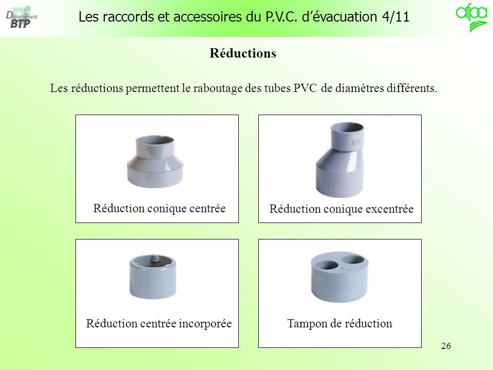 Les raccords et accessoires du P.V.C. d'évacuation 4/11