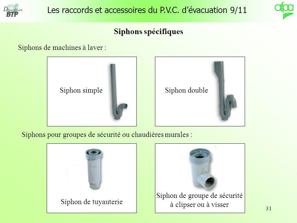 Les raccords et accessoires du P.V.C. d'évacuation 9/11