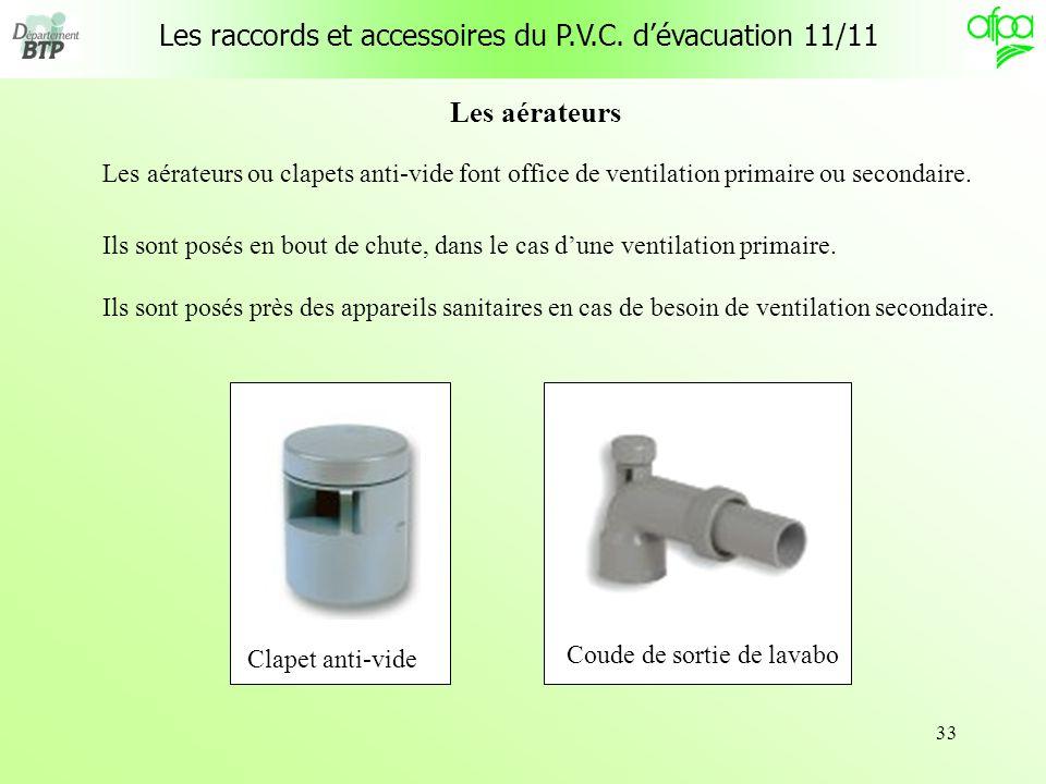 Les raccords et accessoires du P.V.C. d'évacuation 11/11