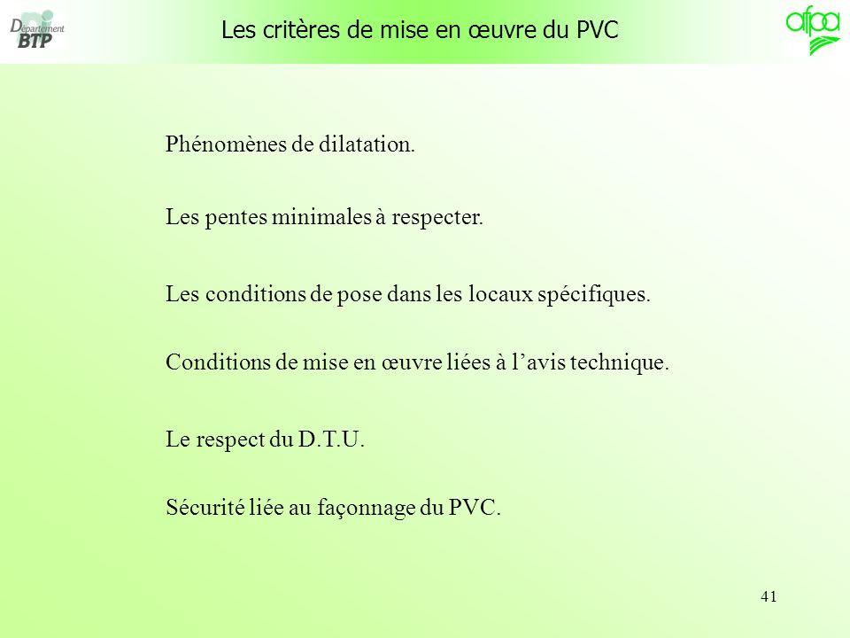 Les critères de mise en œuvre du PVC