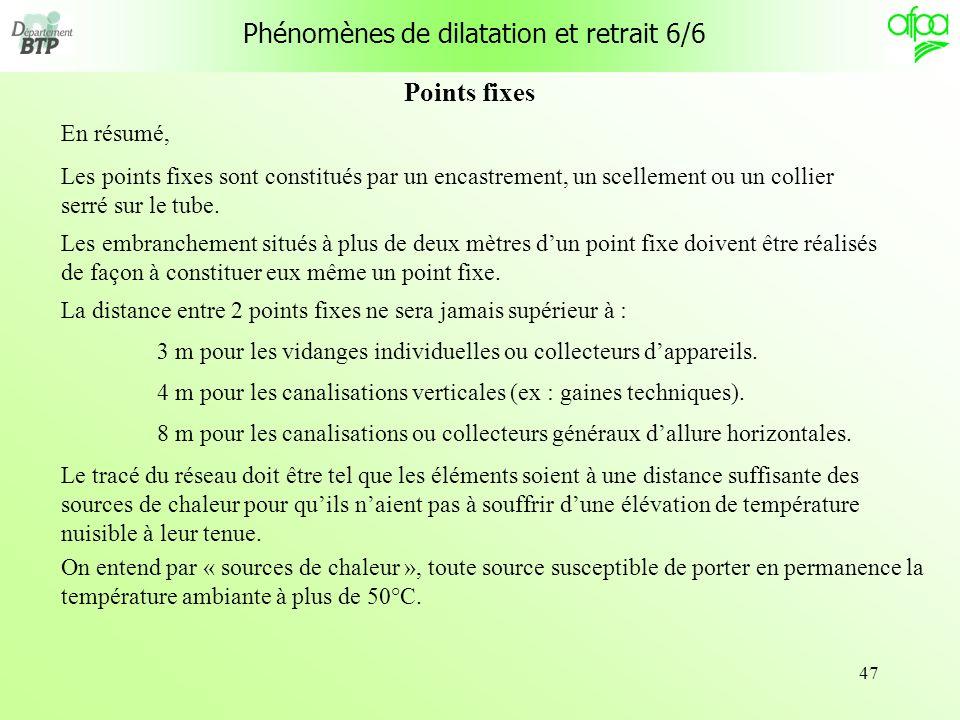 Phénomènes de dilatation et retrait 6/6