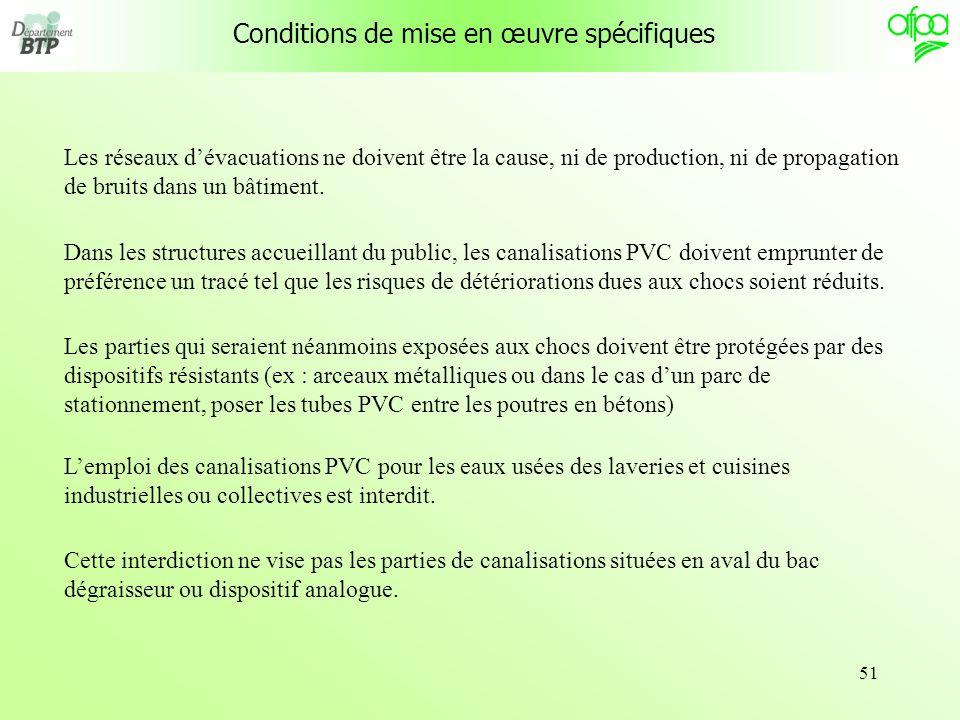 Conditions de mise en œuvre spécifiques