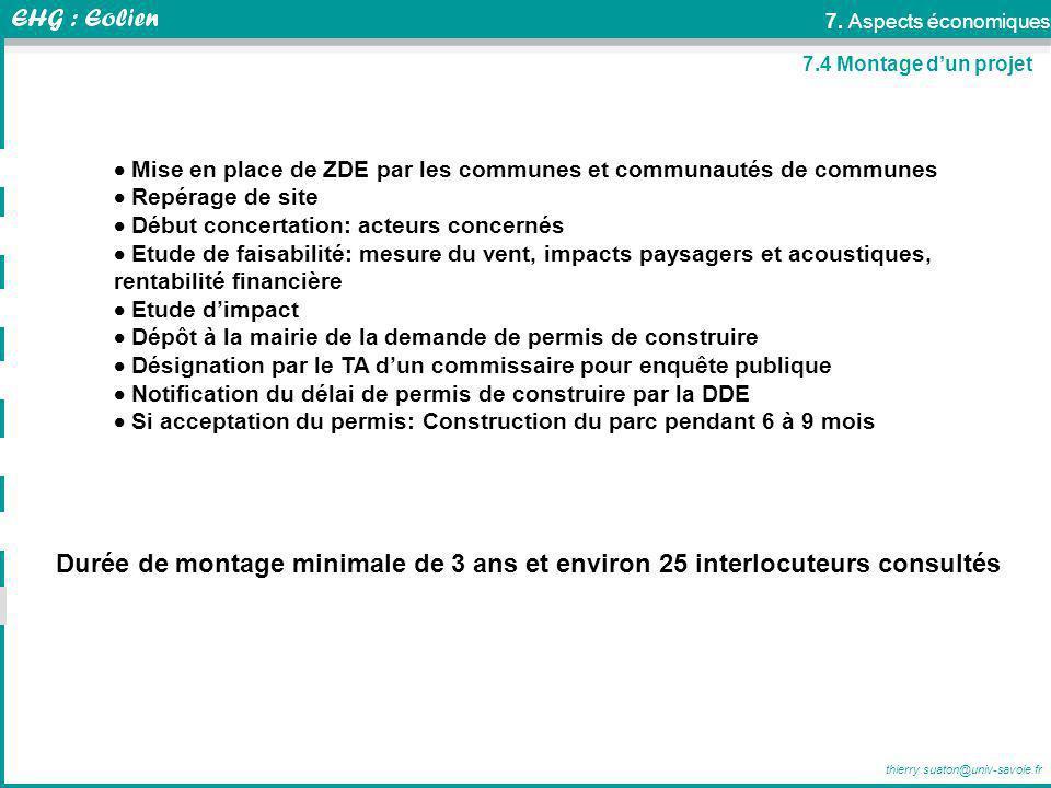 7. Aspects économiques 7.4 Montage d'un projet.  Mise en place de ZDE par les communes et communautés de communes.