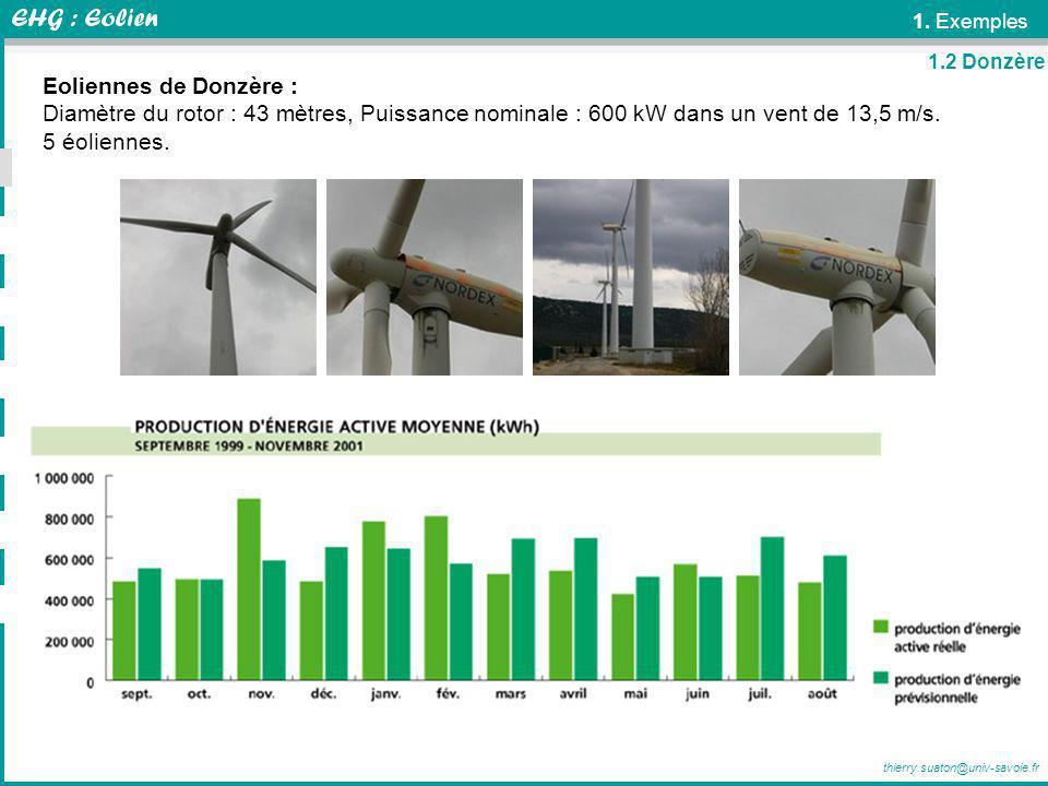 1. Exemples 1.2 Donzère. Eoliennes de Donzère : Diamètre du rotor : 43 mètres, Puissance nominale : 600 kW dans un vent de 13,5 m/s.