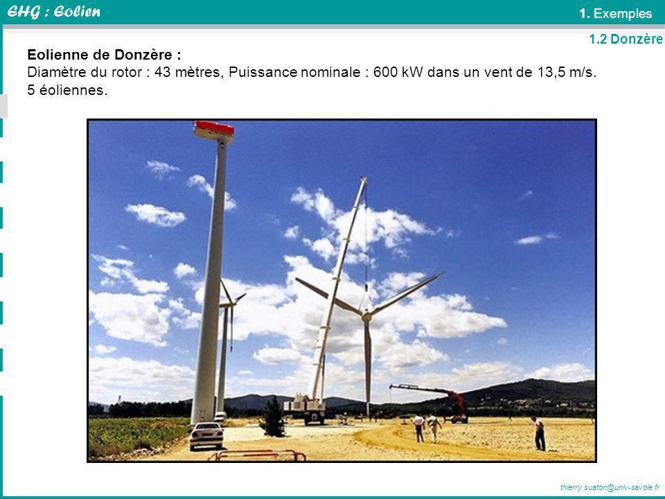 1. Exemples 1.2 Donzère. Eolienne de Donzère : Diamètre du rotor : 43 mètres, Puissance nominale : 600 kW dans un vent de 13,5 m/s.
