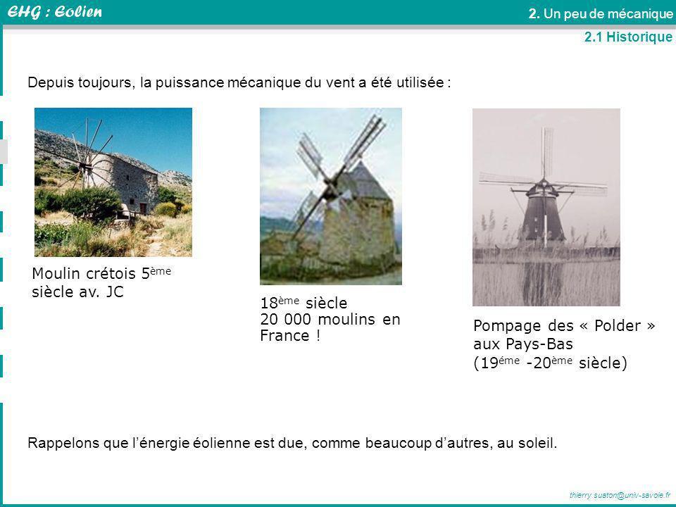 Depuis toujours, la puissance mécanique du vent a été utilisée :