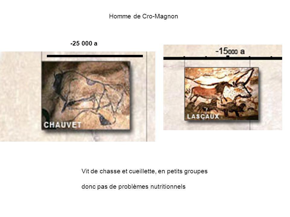 Homme de Cro-Magnon -25 000 a. Vit de chasse et cueillette, en petits groupes.