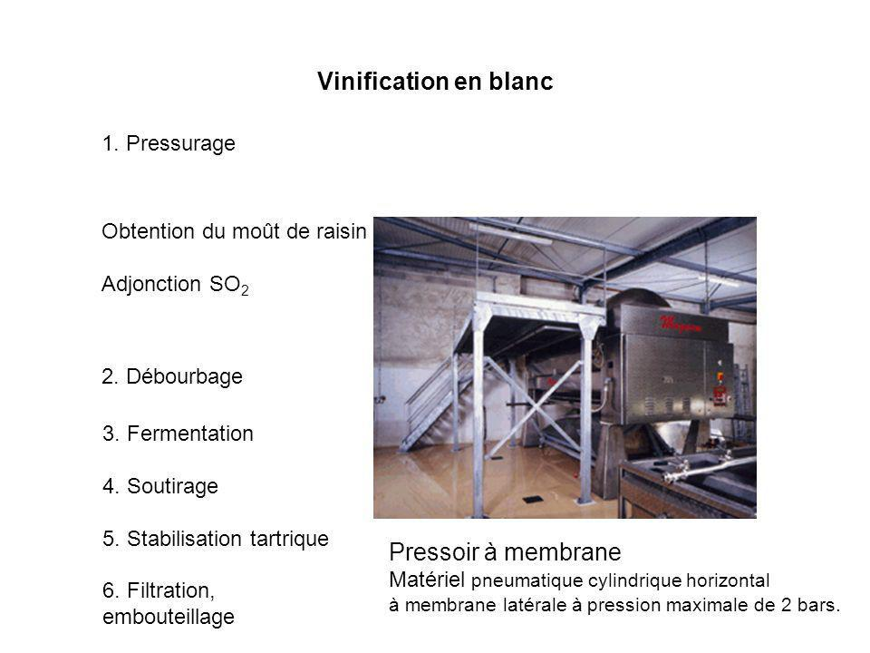 Vinification en blanc Pressoir à membrane 1. Pressurage
