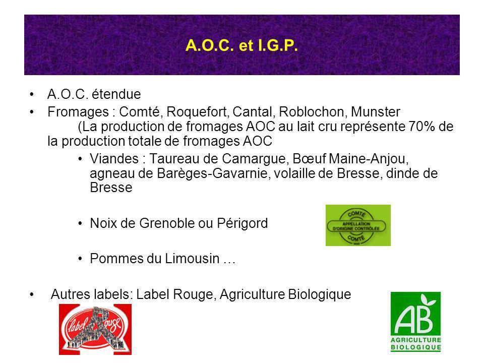 A.O.C. et I.G.P. A.O.C. étendue.