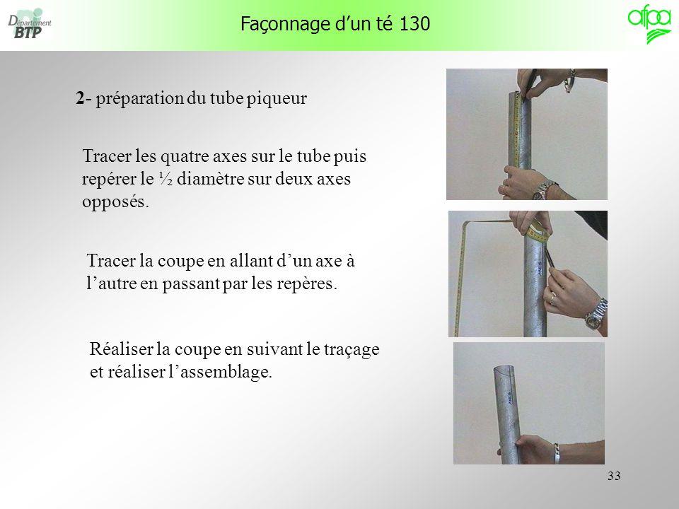Façonnage d'un té 130 2- préparation du tube piqueur. Tracer les quatre axes sur le tube puis repérer le ½ diamètre sur deux axes opposés.