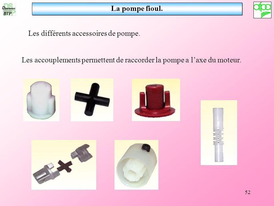 La pompe fioul. Les différents accessoires de pompe.
