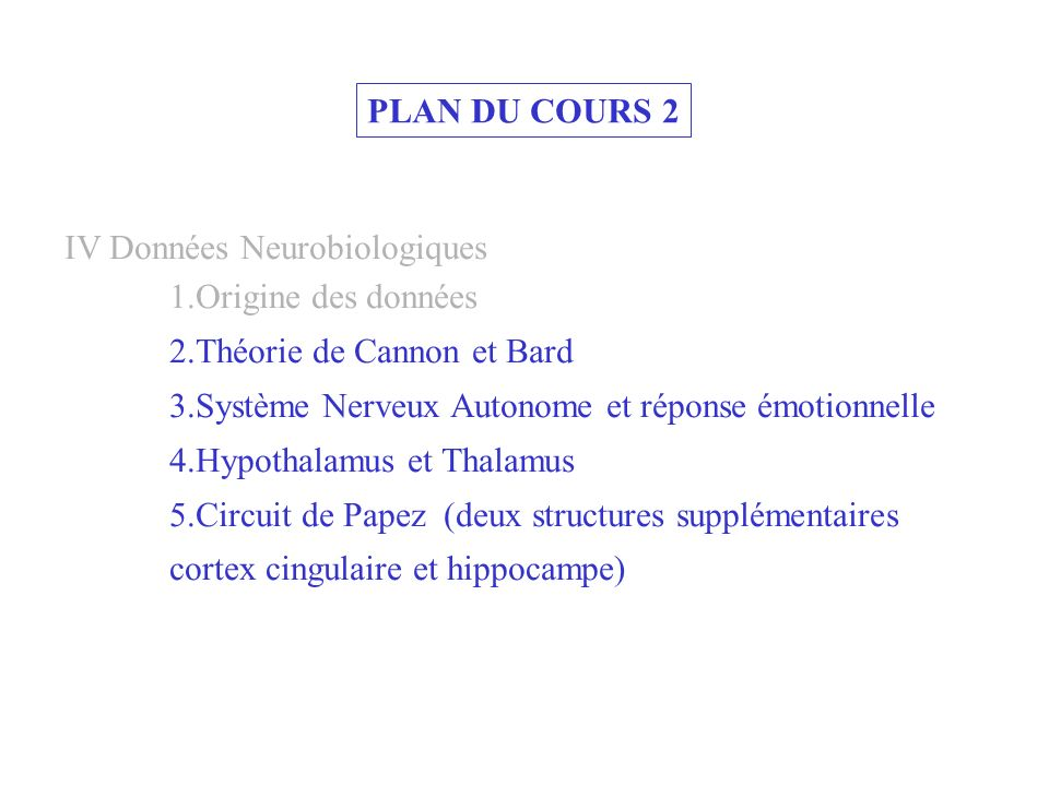 PLAN DU COURS 2 IV Données Neurobiologiques. 1.Origine des données. 2.Théorie de Cannon et Bard.
