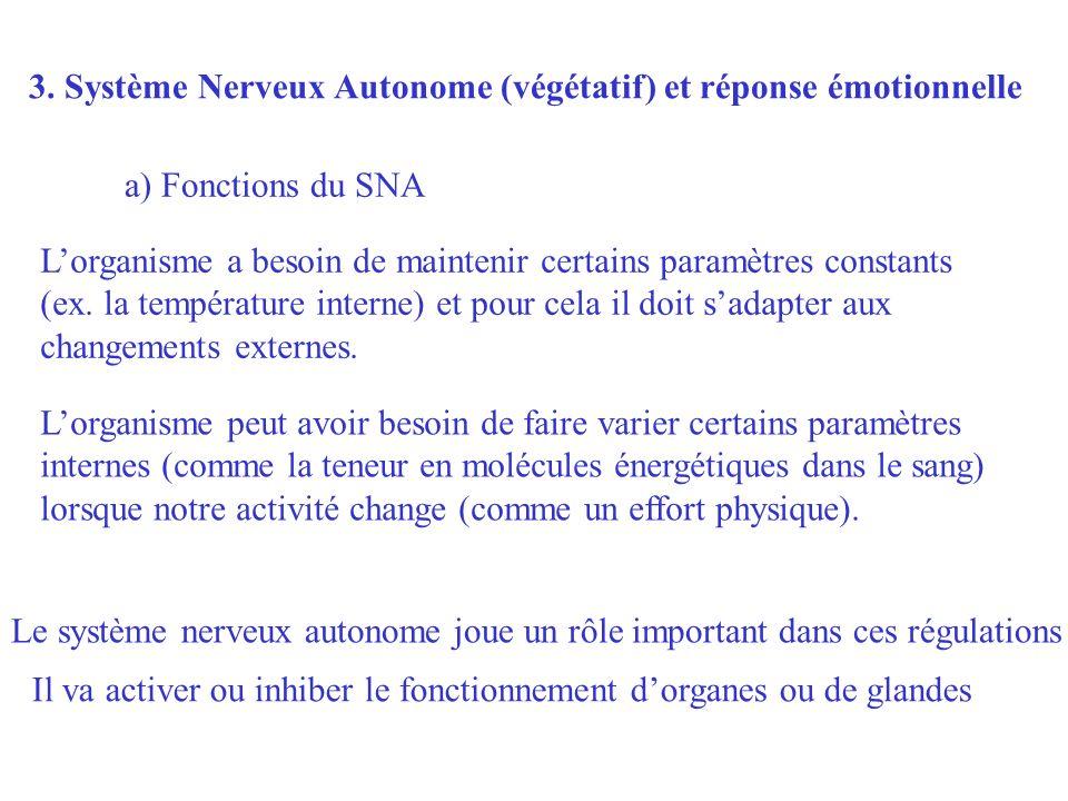 3. Système Nerveux Autonome (végétatif) et réponse émotionnelle