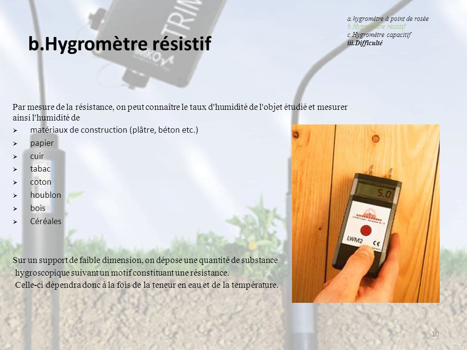 Capteur d humidit hygrom tres ppt video online for Mesurer le taux d humidite