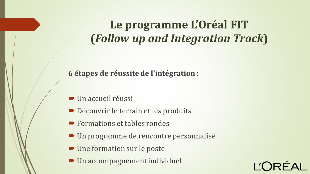 Le programme L'Oréal FIT (Follow up and Integration Track)