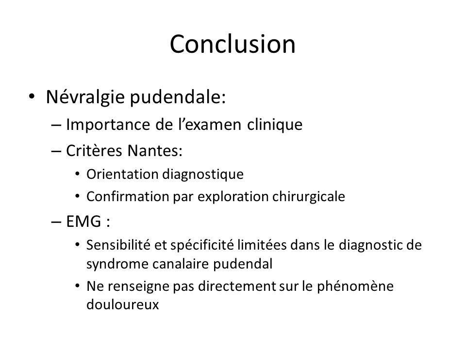 Conclusion Névralgie pudendale: Importance de l'examen clinique