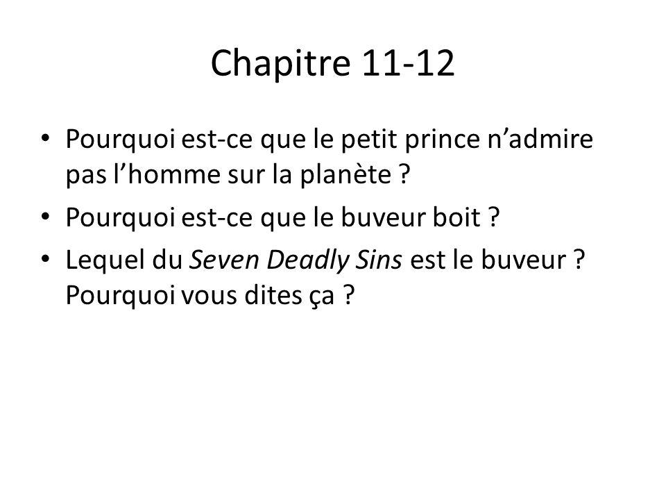 Chapitre 11-12 Pourquoi est-ce que le petit prince n'admire pas l'homme sur la planète Pourquoi est-ce que le buveur boit
