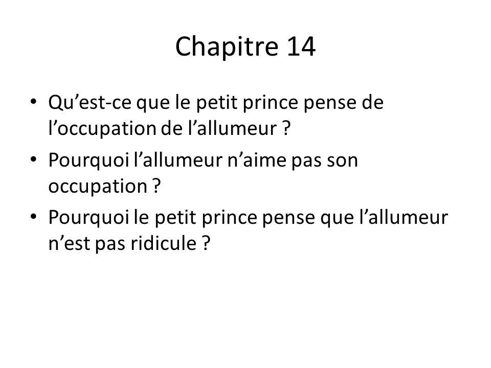 Chapitre 14 Qu'est-ce que le petit prince pense de l'occupation de l'allumeur Pourquoi l'allumeur n'aime pas son occupation