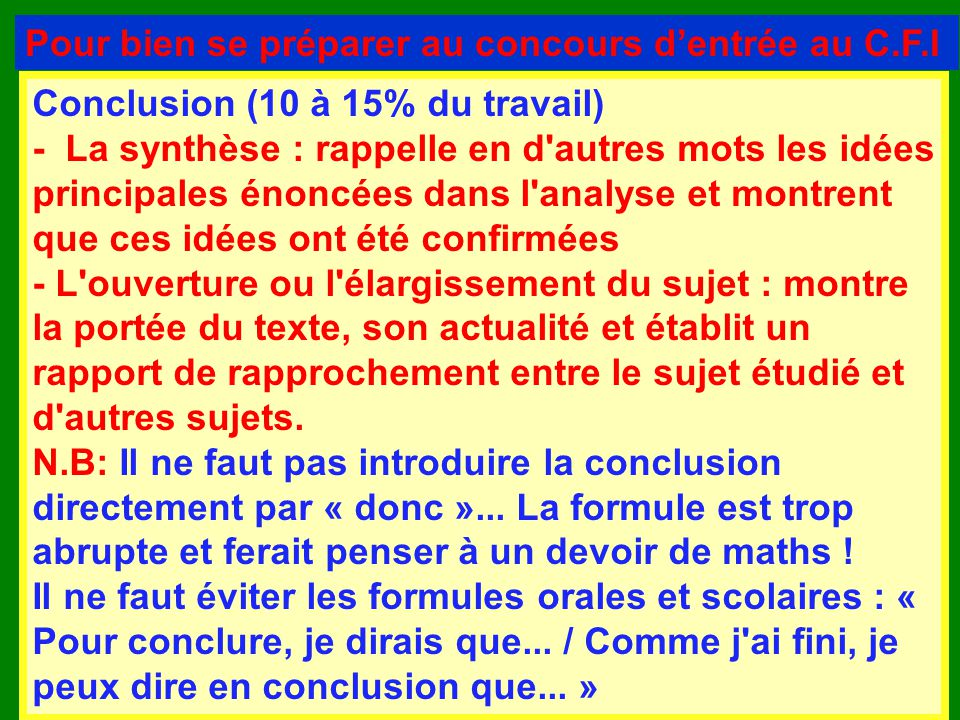 formule pour conclure une dissertation Argumenter un texte / développer une idée les mots de liaison pour conclure / en conclusion as a conclusion i'll give you my point of view.
