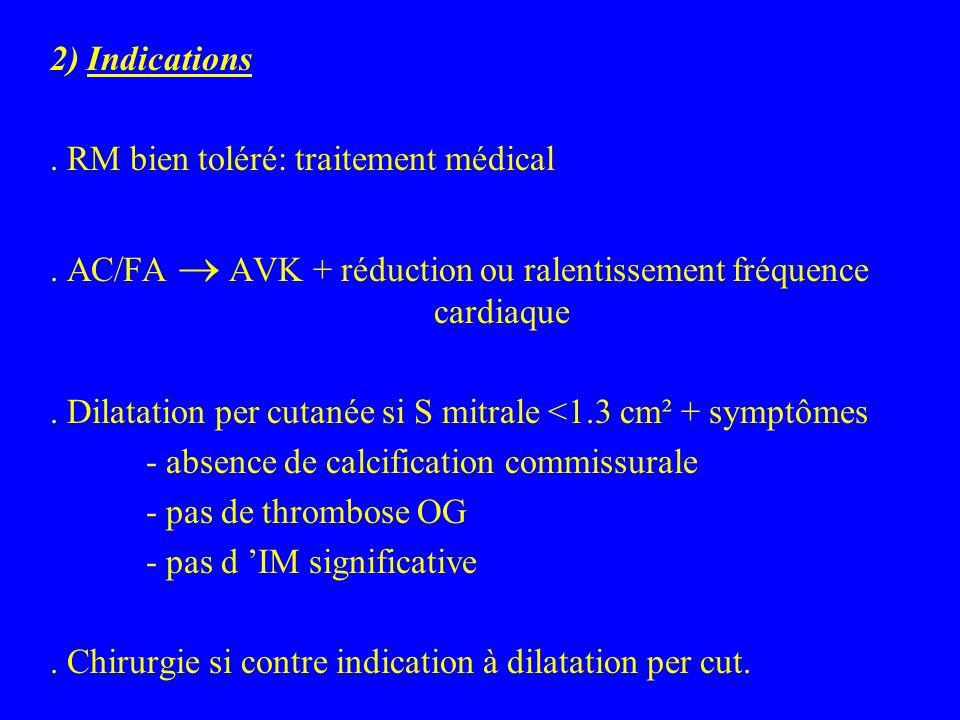 2) Indications . RM bien toléré: traitement médical. . AC/FA ® AVK + réduction ou ralentissement fréquence cardiaque.