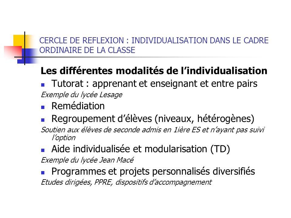 Les différentes modalités de l'individualisation