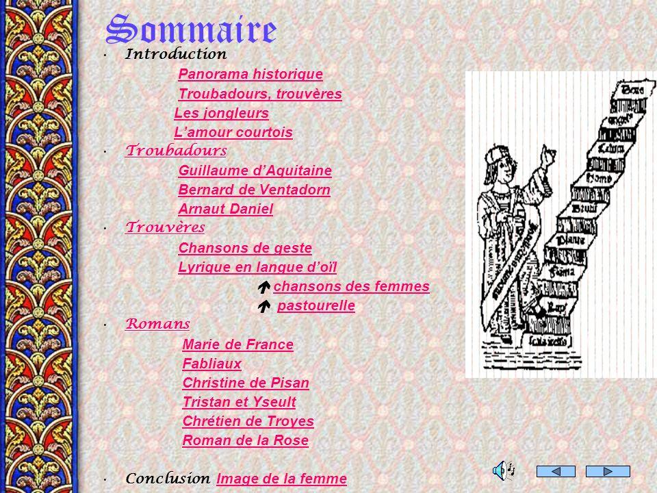 Sommaire Introduction Panorama historique Troubadours, trouvères