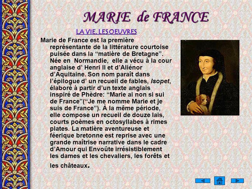 MARIE de FRANCE LA VIE, LES OEUVRES