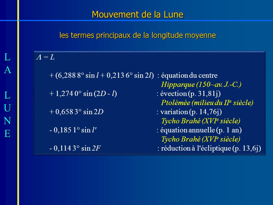 Mouvement de la Lune les termes principaux de la longitude moyenne