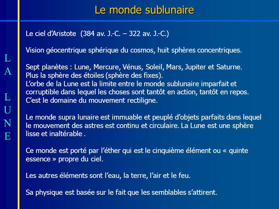 Le monde sublunaire Le ciel d'Aristote (384 av. J.-C. – 322 av. J.-C.)