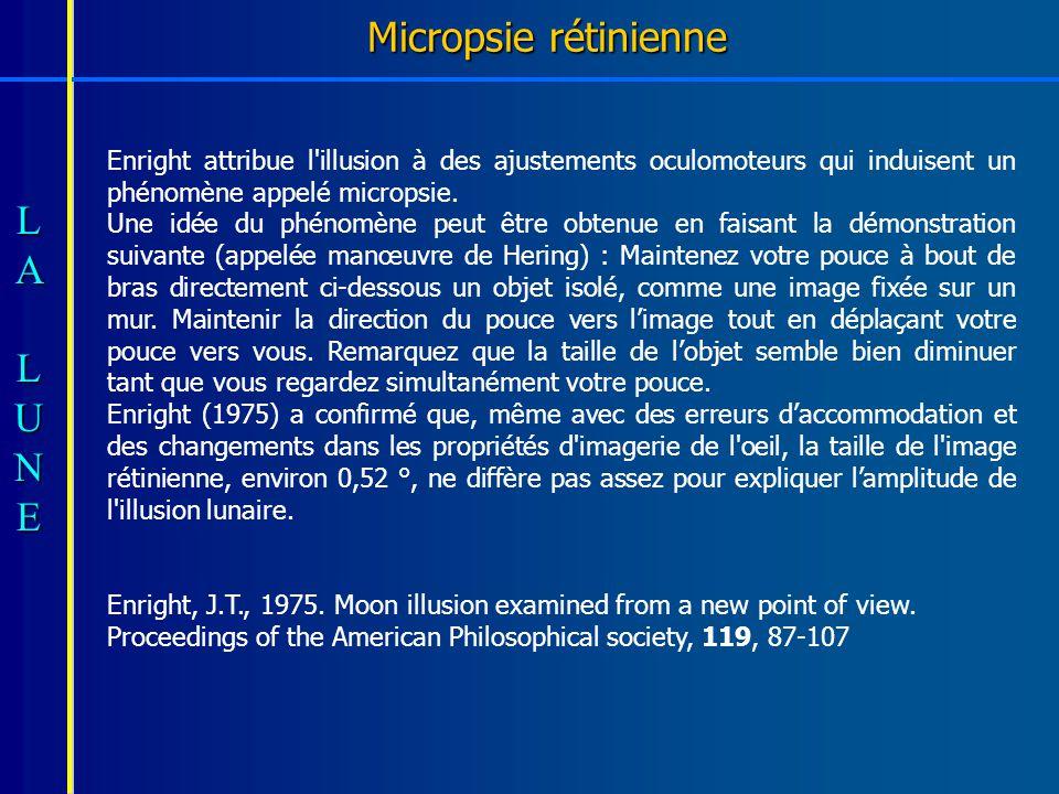 Micropsie rétinienne Enright attribue l illusion à des ajustements oculomoteurs qui induisent un phénomène appelé micropsie.