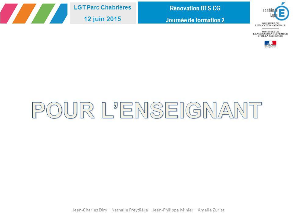 POUR L'ENSEIGNANT Rénovation BTS CG 12 juin 2015