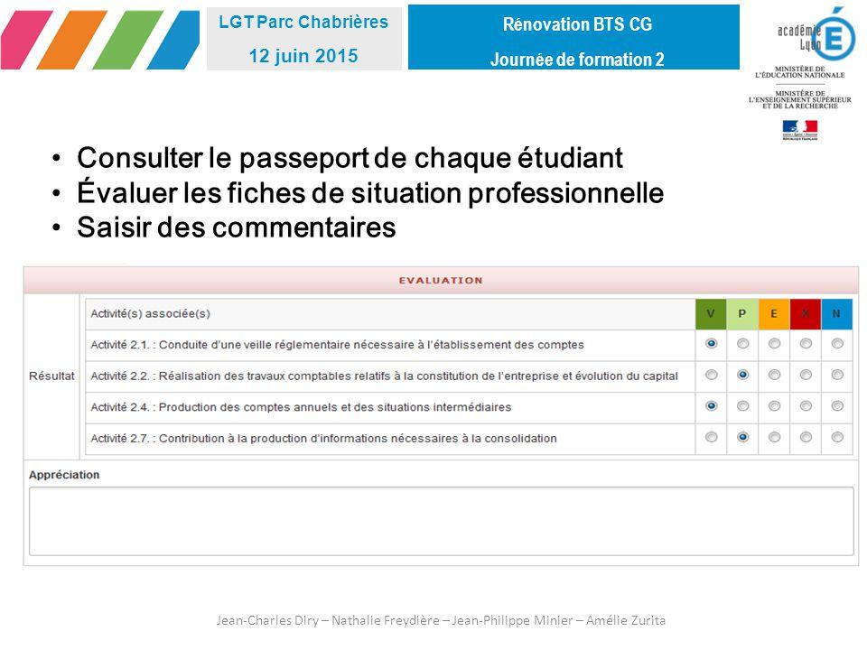 Consulter le passeport de chaque étudiant