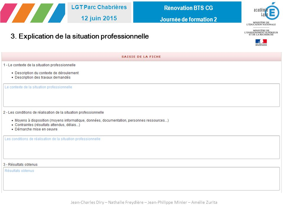 3. Explication de la situation professionnelle
