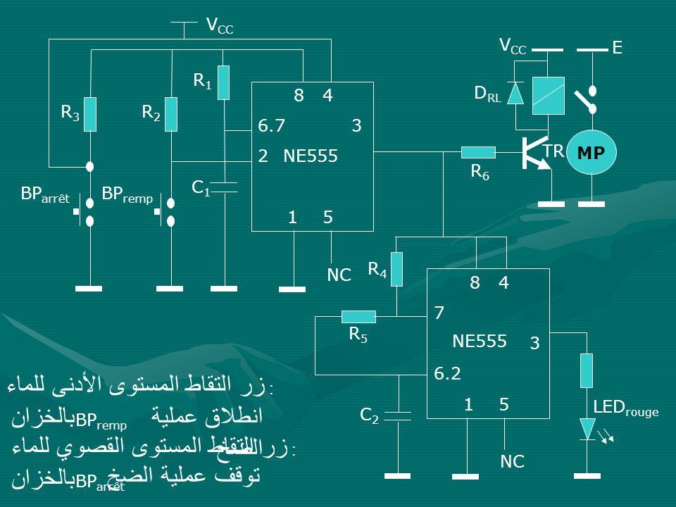 انطلاق عملية الضخ توقف عملية الضخ VCC VCC E R1 8 4 6.7 3 NE555 1 5 DRL