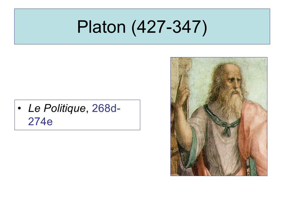 Platon (427-347) Le Politique, 268d-274e