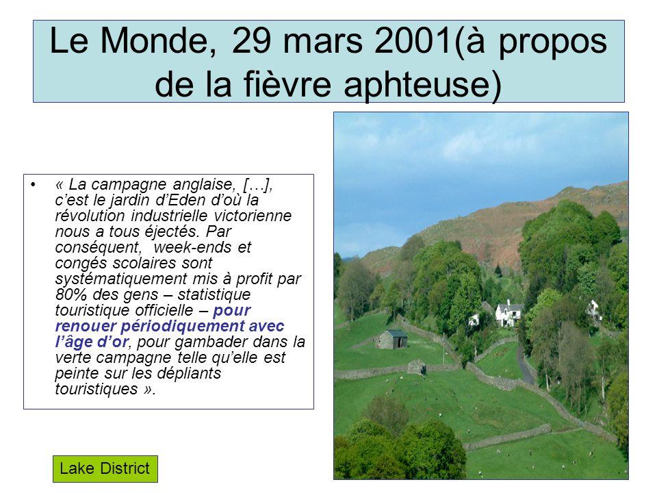 Le Monde, 29 mars 2001(à propos de la fièvre aphteuse)