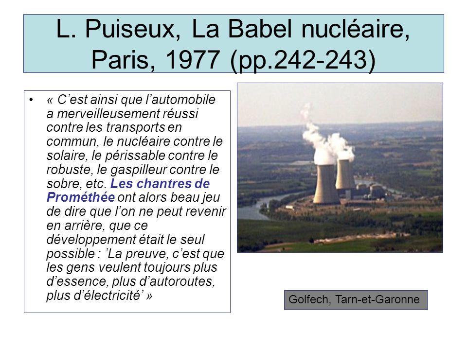L. Puiseux, La Babel nucléaire, Paris, 1977 (pp.242-243)