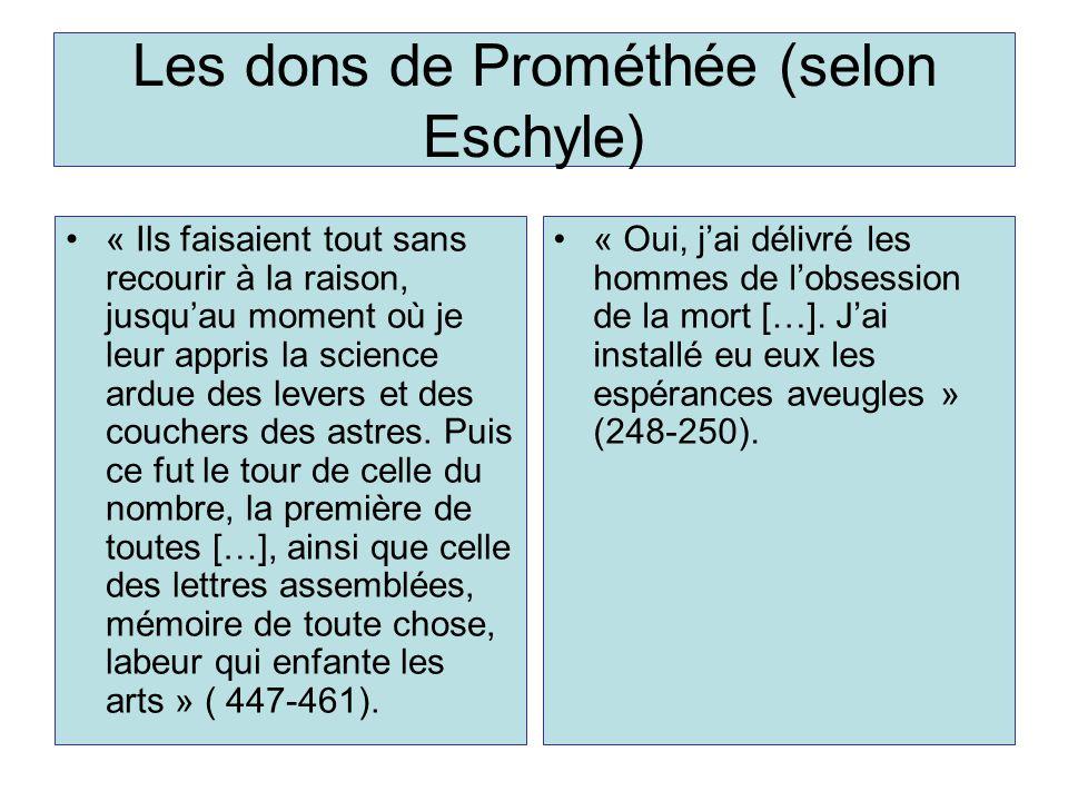 Les dons de Prométhée (selon Eschyle)