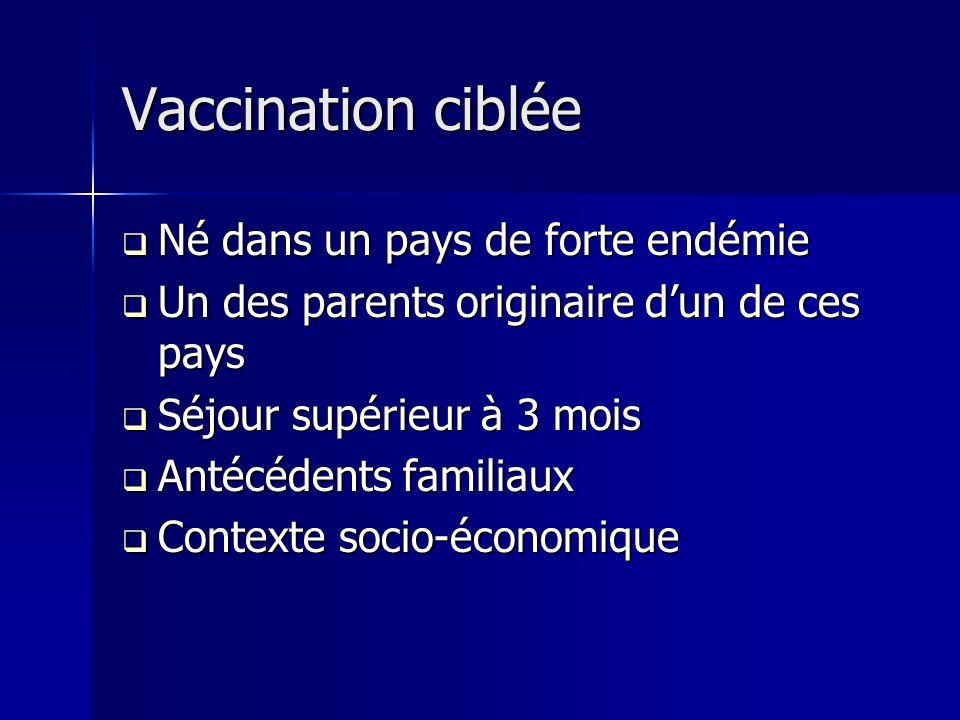 Vaccination ciblée Né dans un pays de forte endémie