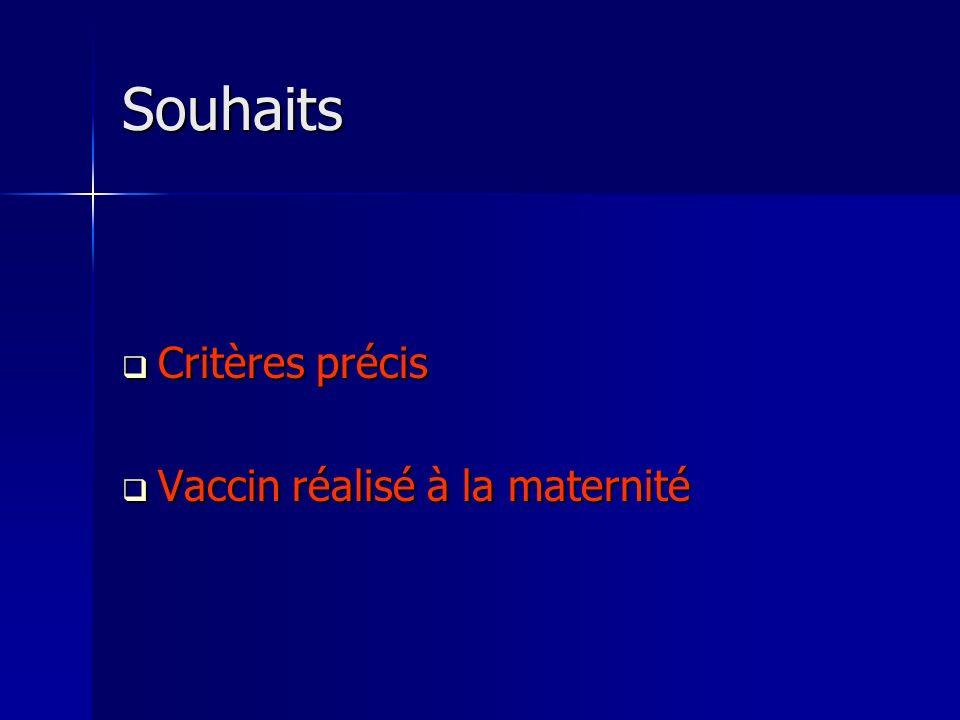 Souhaits Critères précis Vaccin réalisé à la maternité